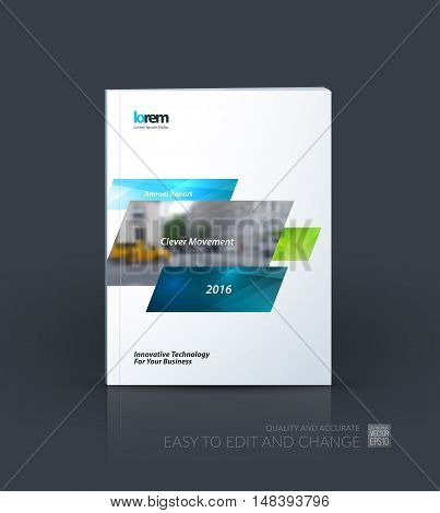 Brochure template layout, cover design annual report, magazine, flyer, leaflet in A4 with blue dynamic rectangles with overlap effect for business and hi-tech. Creative vector art.