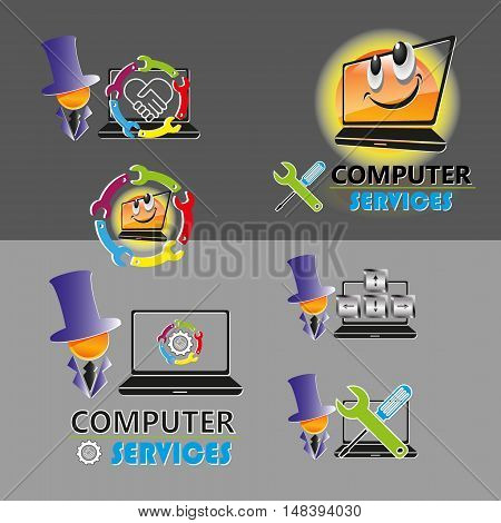 vector set of various logos, smilies with the image of a human silhouette, spanner, screwdriver for repair, PC maintenance, laptop