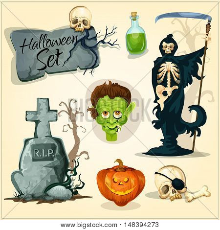 Vector orange halloween pumpkin lantern, skull on gravestone cross, poisonous green potion bottle, zombie monster, skeleton death with scythe. Creepy and horror elements for Halloween designs