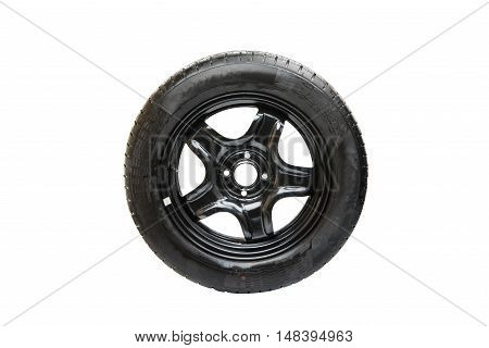 automotive wheel with an emergency sign on a white background