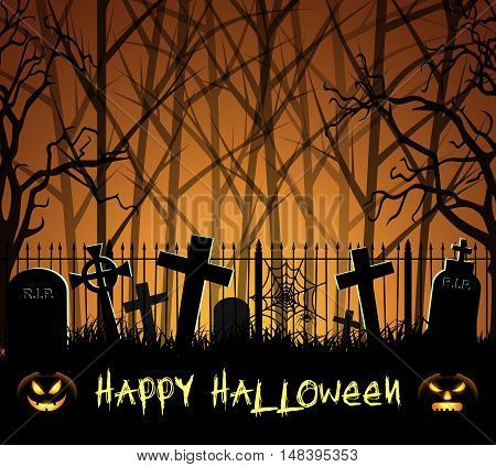 Graveyard cemetery tomb in forest, happy Halloween background with pumpkin, vector illustration
