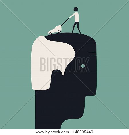 Lawn-mower shaving head of bald man. Flat vector illustration. Portrait of a man. Hair care concept. Baldness. Old man.
