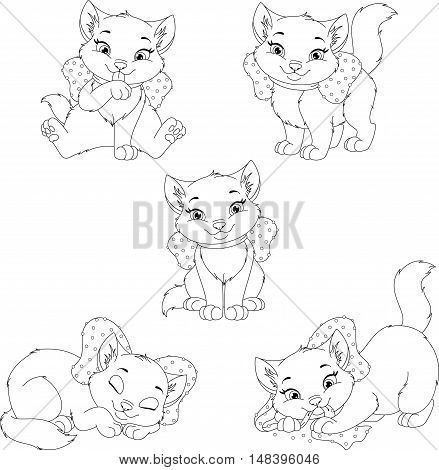 Set of cute kitten on a white background, Coloring Page
