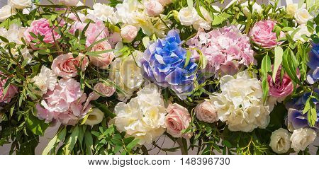 The Flower garland of roses and hydrangeas