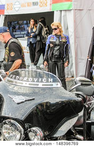 St. Petersburg, Russia - 12 August, The nominal inscription on a motorcycle,12 August, 2016. The annual International Festival of Motor Harley Davidson in St. Petersburg Ostrovsky Square.