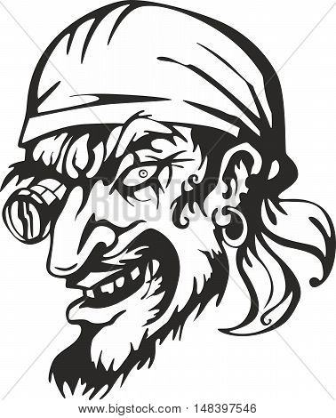 Old-Time filibuster pirate captain head. Vector illustration.