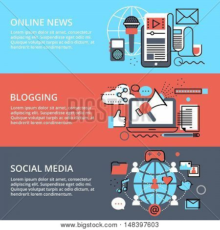 Modern flat thin line design vector illustration concept of social media online news and blogging for graphic and web design