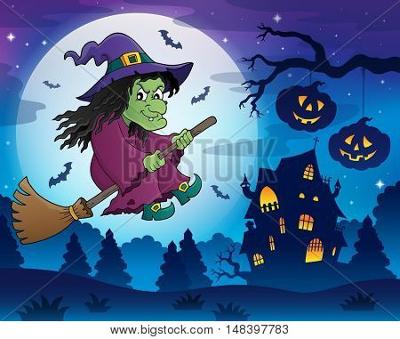 Witch on broom theme image 7 - eps10 vector illustration.