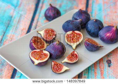 Purple Figs On Plate