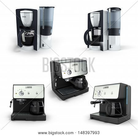 Collection Of Coffee Makers 3D Render On The White Background