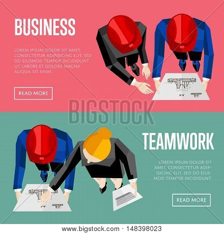 Business website templates, vector illustration. Top view of construction professionals discussing details of project with drawing. Architectural project management and teamwork communication concept