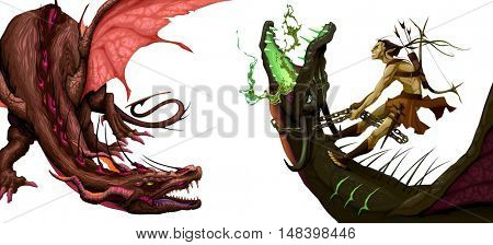 Two isolated dragons. Vector fantasy illustration