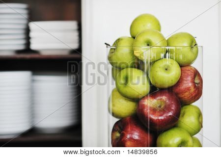 fresh healthy fruits decoration in glass dish and spiral formation