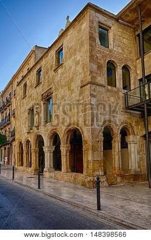 Ancient roman building found in Tarragona, summer Spain