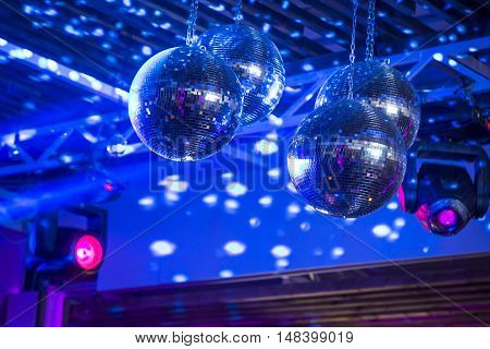 Night club party lights disco balls .