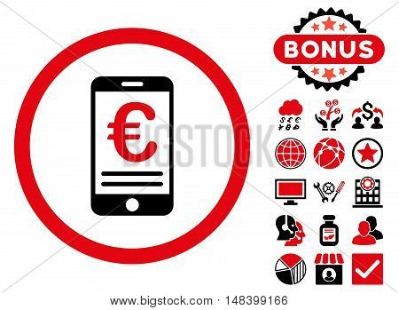Euro Mobile Bank Account icon with bonus pictogram. Vector illustration style is flat iconic bicolor symbols intensive red and black colors white background.