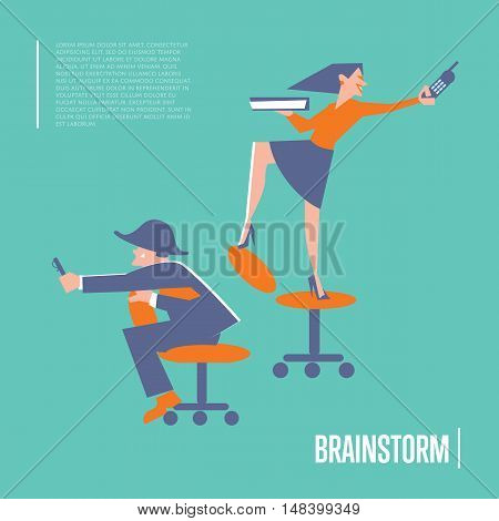 Happy active business people in working process. Brainstorm banner, isolated vector illustration on blue background. Togetherness and collaboration. Business office lifestyle design. Teamwork concept