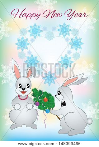 New Year greeting card with a two lovers rabbit. Christmas card with nice cartoon character. Winter romantic greeting card. Vector illustration.