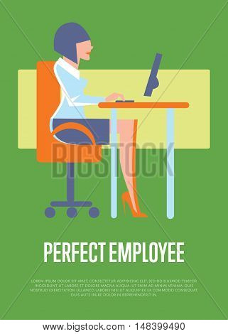 Young businesswoman using desktop computer in office. Perfect employee banner, isolated vector illustration on green background. Business process. Human resource concept. Perfect candidate for job