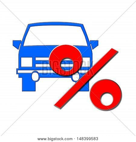Passenger car and red percent sign on white background . The concept of change of car prices .