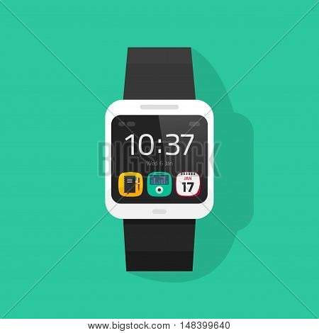 Smart watch vector illustration isolated on colorful background, digital hand clock with touchscreen display flat cartoon style