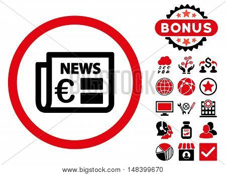 Euro Newspaper icon with bonus images. Vector illustration style is flat iconic bicolor symbols, intensive red and black colors, white background.