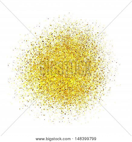 Bright colorful sparkles on white background. Shiny powder. Background for card.