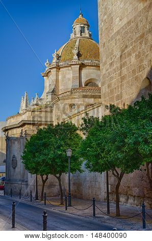 Lateral view on the dome of Tarragona Cathedral, summer Spain