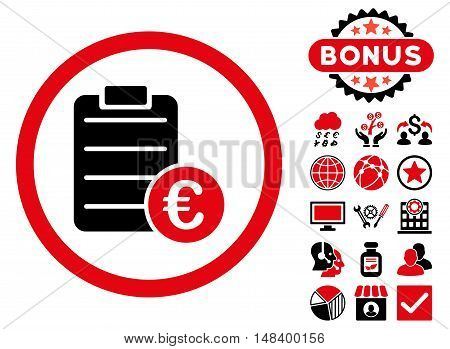 Euro Prices icon with bonus images. Vector illustration style is flat iconic bicolor symbols, intensive red and black colors, white background.