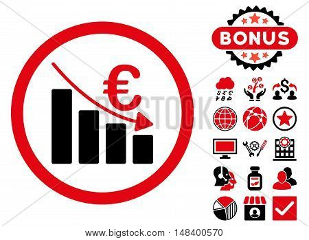 Euro Recession icon with bonus symbols. Vector illustration style is flat iconic bicolor symbols, intensive red and black colors, white background.