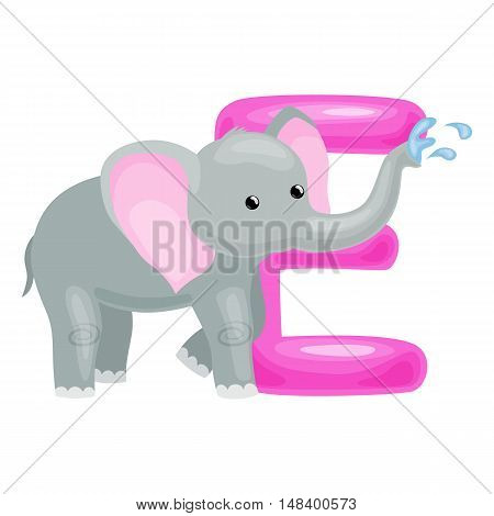 elephant animal and letter for kids abc education in preschool.Cute animals letters english alphabet. Cartoon animals alphabet for learning letters vector illustration. Single letter with wild elephant
