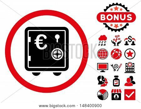 Euro Safe icon with bonus pictures. Vector illustration style is flat iconic bicolor symbols, intensive red and black colors, white background.