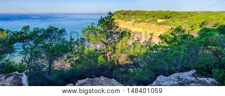 Panoramic view on the cliff coast near Tarragona, summer Spain
