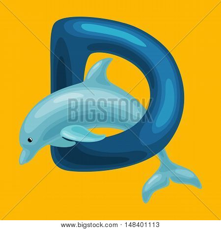 dolphin animal and letter for kids abc education in preschool.Cute animals letters english alphabet. Cartoon animals alphabet for learning letters vector illustration. Single letter with wild animal dolphin