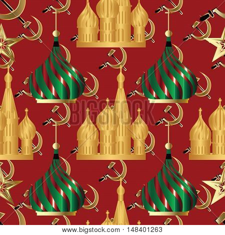 Elegant vector seamless pattern background illustration with russian symbols. Russian Cathedral and russian hammer and sickle,