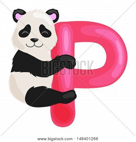 animal panda and letter P for kids abc education in preschool.Cute animals letters english alphabet. Cartoon animals alphabet for learning letters vector illustration. Single letter with wild animal panda