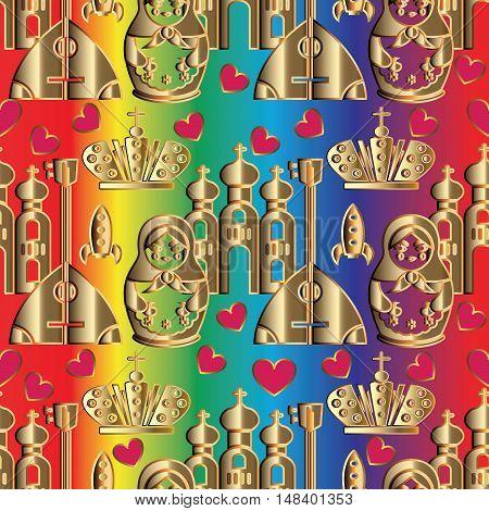 Modern vector seamless pattern background  illustration with decorative russian symbols, icons, crown,doll,love hearts, balalaika, cathedral, matryoshka,