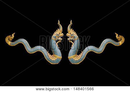 Dragon stucco isolate on a black background