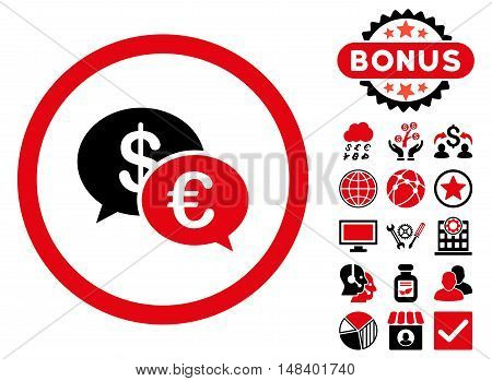 Euro Transactions icon with bonus pictures. Vector illustration style is flat iconic bicolor symbols, intensive red and black colors, white background.