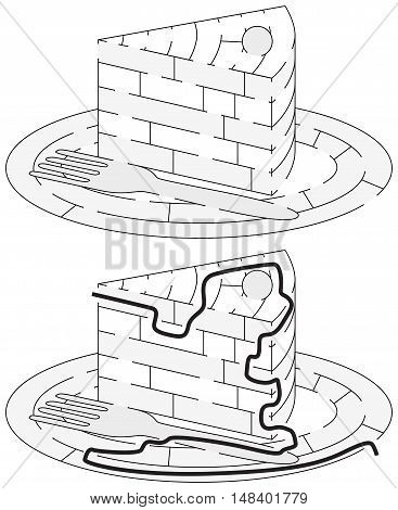 Easy cake maze for younger kids with a solution in black and white