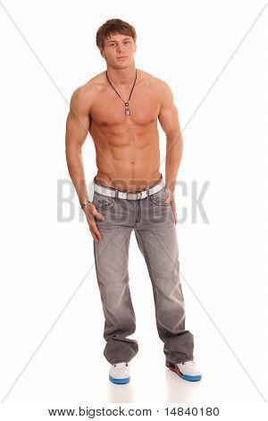 Nackter Oberkörper Mann In Jeans