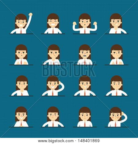 Cartoon girl in various poses and facial expressions. People emotional icons isolated on blue background, vector illustration. Collection of female avatars faces. Different emotions icon set.