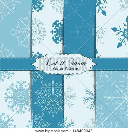Set of Snowflake Patterns - Snowflake vector patterns. Snowflakes are grouped in one layer for easy editing.