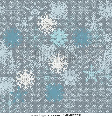 Snowflake Pattern - Snowflake vector pattern. Snowflakes are grouped in one layer for easy editing.
