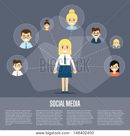 Smiling cartoon girl with own successful social network. Social media banner on gray background, vector illustration. Connecting people. Teamwork concept. Concept of the coworking center.