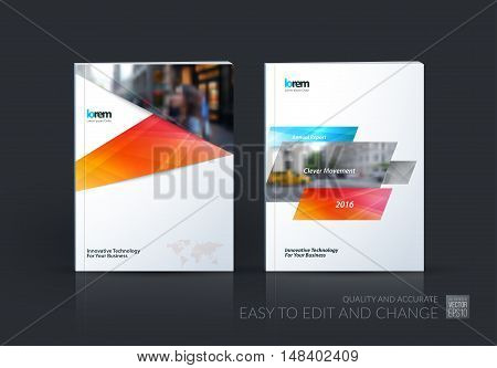 Brochure template layout, cover design annual report, magazine, flyer, leaflet in A4 with blue red dynamic rectangles, ribbon with overlap effect for business and hi-tech. Vector creative set.