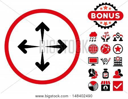 Expand Arrows icon with bonus design elements. Vector illustration style is flat iconic bicolor symbols, intensive red and black colors, white background.