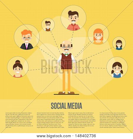 Smiling cartoon man with own successful social network. Social media banner on yellow background, vector illustration. Connecting people. Teamwork concept. Project coordination. Business team