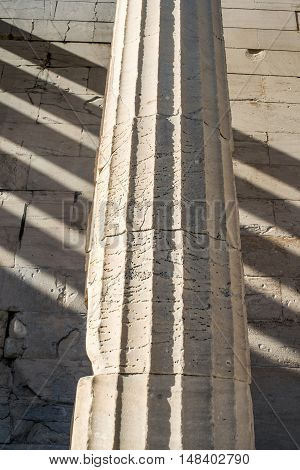 Doric column details of the temple of Hephaestus in Ancient Agora Athens Greece