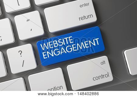 Website Engagement Concept: Modern Laptop Keyboard with Website Engagement, Selected Focus on Blue Enter Keypad. 3D.